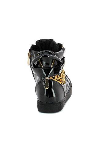 Baskets montantes à bande velcro et zip doré - 39 EU - Noir