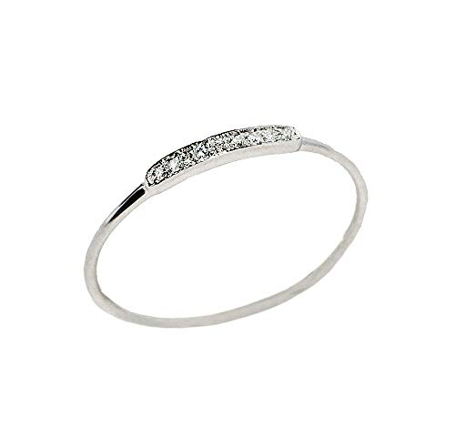 LooptyHoops 14K White Gold .04 ctw Diamond Thin Stackable Band Ring Size 6.5