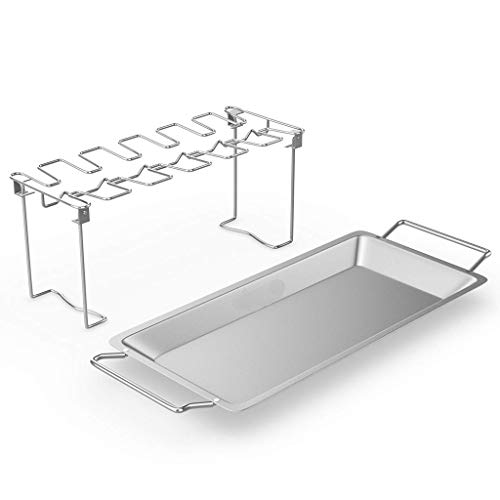 (HJuyYuah Stainless Steel Chicken Wing Leg Rack Grill Holder with Drip Pan for BBQ (Silver) )