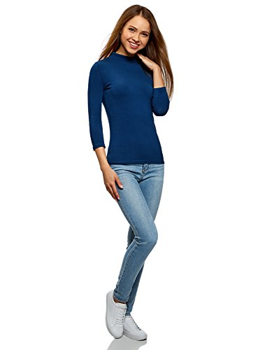 con a oodji in 4 Blu Ultra 3 7901n Maglione Donna a Cotone Lupetto Maniche Rxq0rRwt