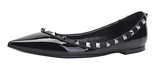 CAMSSOO Women's Classic Rivets Pointy Toe Slip On Comfort Flats Dress Pumps Shoes Black Patant PU Size US 9 EU41