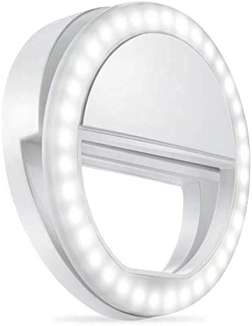 Selfie Ring Light LED for Smart Phone Battery Powered Clip and Compatible w//iPhone XR XS X 8 Plus iPad
