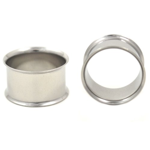 Pair of Stainless Steel Ear Tunnel Plugs Double Flared Gauges - 3/4 Inch (19MM) (Gauge Steel Double Flare)
