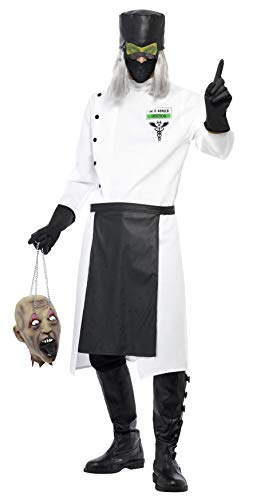 Smiffys Men's Dr D Ranged Costume, Coat, Gloves, Hat with Hair, Mask and Apron, Hell's Asylum, Halloween, Size M, 33276