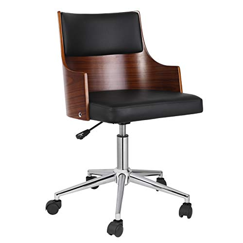 Porthos Home KCH031A BLK Office Chair with PVC Upholstery Adjustable Height360-degree Swivel and Chrome Steel Legs, Black, One Size