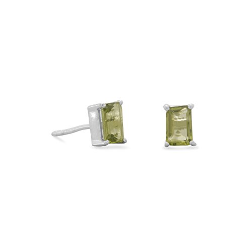 Emerald Cut Peridot Post Earrings - Sterling Silver 6mm X 3mm Emerald Cut Peridot Post Earrings