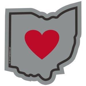 Heart in Ohio Sticker Vinyl Decal Label Stickers, Die-Cut Shape for Water Bottle Laptop Luggage Bike Laptop Car Bumper Helmet Waterproof Show Love Pride Local Spirit OH Buckeye Heartland