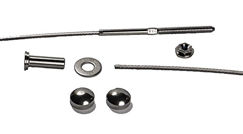 VistaView CableTec - 1/8 Inch Stainless Steel Cable Railing Assembly Kit - 10 Foot With Brushed Stainless Steel Dome Caps (Deck Railing Caps)
