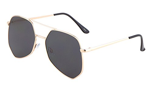 Geometric Large Aviator Sunglasses Metal Frame Mod Fashion Eyewear (Gold/Smoke, - Sunglasses Moscot