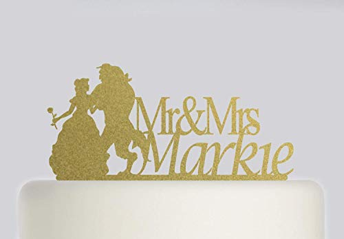 Cheyan Wedding Cake Topper - Beauty And The Beast Custom Cake Topper - Mr And Mrs Cake Topper With Your Surname - Bride And Groom Cake Topper (Beauty And The Beast Party Food Ideas)