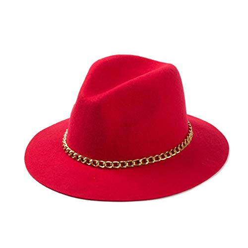 70ba0fb2f8b2c 2015 New Fashionable Women 100% Wool Black Burgundy Red Fedora Hat with Gold  Chain for