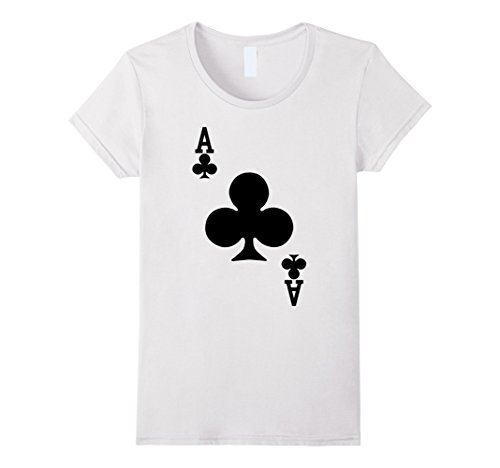 Womens Ace of Clubs - Playing Card Halloween Costume T-Shirt Medium White