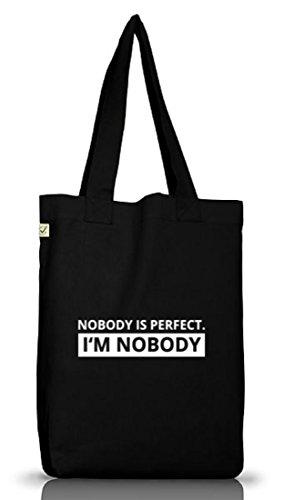 Shirtstreet24, NOBODY IS PERFECT. Jutebeutel Stoff Tasche Earth Positive (ONE SIZE) Black