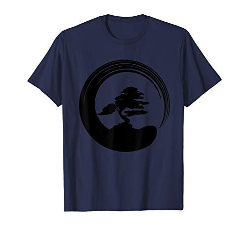 Zen Calligraphy Buddhist Bonsai Tree Enso Circle T-Shirt ()