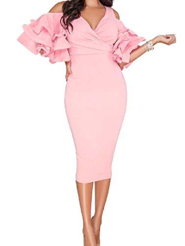 Coolred Di Bodycon Arruffato Elegante Abito Fuori Solido Partito Rosa donne Tagliato Sera qR4qxHBp