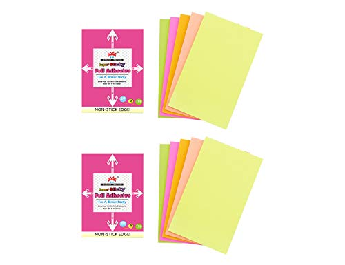 Adhesive Note Set - 4A Sticky Full Adhesive Notes,5 1/3 x 3 Inches,20 Sheets/Color,5 Colors/Pack,2 Packs/Set,200 Sheets Total,AAAA 4A 305 Full Glue