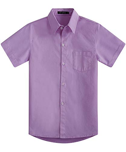 Spring&Gege Boys' Short Sleeve Solid Formal Cotton Twill Dress Shirts Lilac 5-6 Years