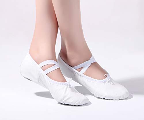 Girls missfiona Leather Dance Soft Shoes White Belly Ballroom Ballet Practice Slippers Genuine 1dd7nt6rq