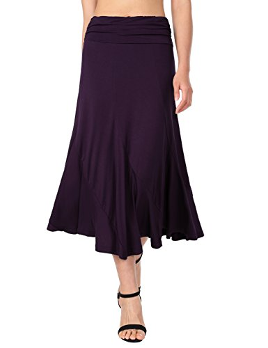 DJT Femme Jupe Longue Taille Haute Vintage Chic Rtro Jupe Fluide Violet
