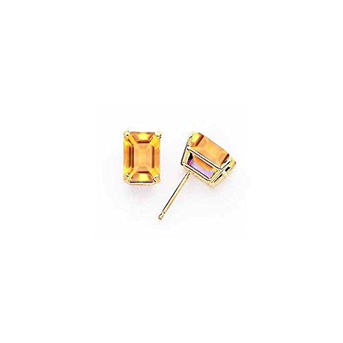 14k Emerald-Cut Citrine stud earring
