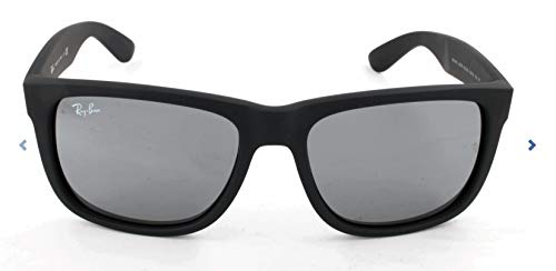 Ray-Ban RB4165 Justin Rectangular Sunglasses, Black Rubber/Grey Mirror, 55 mm ()