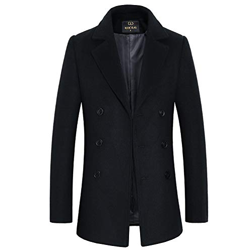- HXW.GJQ Men's Classic Wool Blend Double Breasted Sport Pea Coat (Black, Small)