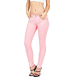 Angry Rabbit Women's Juniors Mid Waist Skinny Colored Jeans