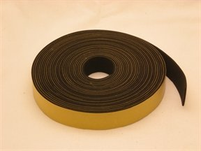"NEOPRENE RUBBER Self Adhesive Strip : 1"" wide x 5/64"" thick x 33 feet long"
