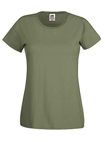 Fruit of the Loom - Camiseta de manga corta para mujer verde oliva