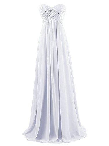 JAEDEN de Dama de de Tirantes Vestidos Larga Honor Sin Baile de Plisada de Blanco Gasa Noche Vestido rEgrwqFYx
