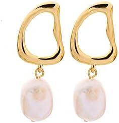 SupKey.L Pendientes Colgantes de Perlas cultivadas de Dos Tipos y Perlas de Vidrio para Regalos de Mujeres Accesorios de joyería de Moda de aleación Irregular de Dos Colores
