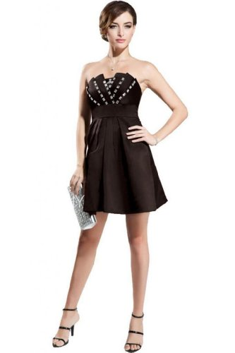 Cocktail Satin Short Brown Women's Dress Sleeveless Dearta Neck A Scalloped Mini Line 6zwx48pq