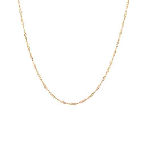 - Mevecco Gold Chain Choker Necklace,14K Gold Plated Dainty Boho Delicate Wave Chain Minimalist Simple Choker Necklace for Women and Girls
