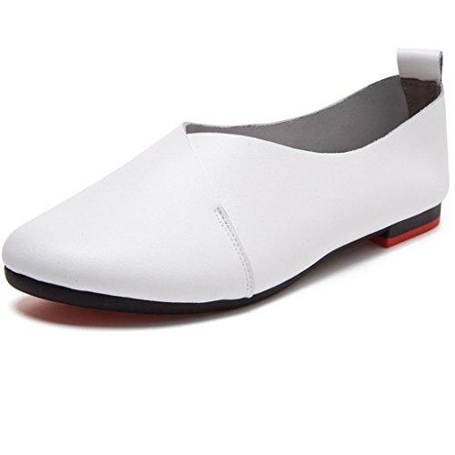 Mocasines de Cuero Casual Zapato Bailarinas de conducción Zapatillas Mujer Blanco