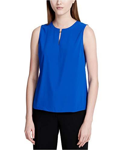 Calvin Klein Women's Slit Keyhole Sleeveless Top Regatta Large ()
