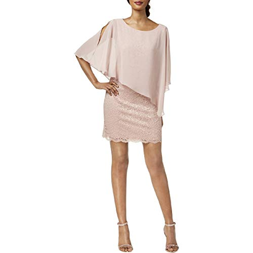 - Connected Apparel Womens Petites Chiffon Mini Capelet Dress Pink 8P