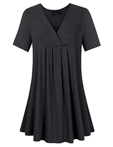 AMZ PLUS Women's Plus Size Flowy Tops V-Neck Loose Blouse Casual Tunic Shirt (XL, Black with Short Sleeve)