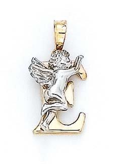 "Initiale E 14 carats avec pendentif ange de 3/4 ""- JewelryWeb"