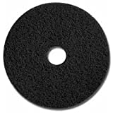 "Glit 20011 TK Polyester Blend Black Stripping Floor Pad, Synthetic Blend Resin, Minerals Grit, 17"" Diameter, 175 to 350 rpm (Case of 5)"