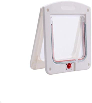 LJSLYJ 動物のためのプラスチックロックできる犬猫ドアセキュリティフラップドア小さな猫犬ゲートドアペット用品、ホワイト