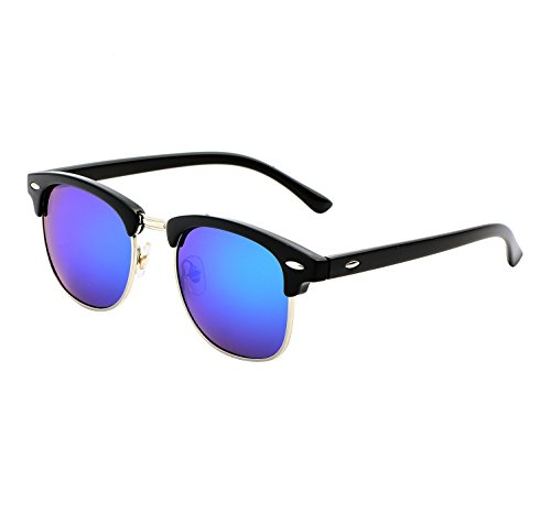 YANQIUYU Classic Retro Semi Rimless Polarized Clubmaster Sunglasses with Metal Rivets (Green/Silver Rimmed, - Sunglasses Small 47mm Wayfarer