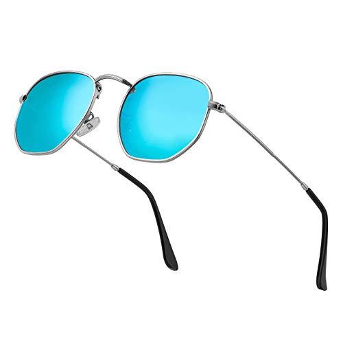 Modern Geometric Polarized Metal Slim Arms Neutral Colored Lens Hexagonal Sunglasses Men Women Square Small Vintage Frame Retro Round Mirrored Driving Shade Sun Glasses(Blue Lens/Silver Frame)
