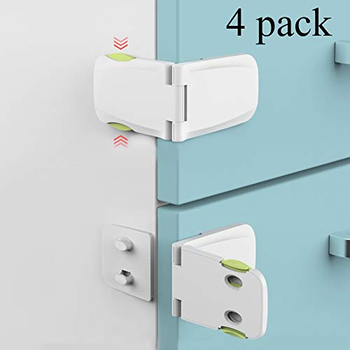 [4 Pack] Cabinet Locks Child Safety, Baby Proofing Cabinet Latch for Kitchen Storage Doors, Drawers, Cupboard, Oven, Refrigerator by QJQBMAI(White&Green)