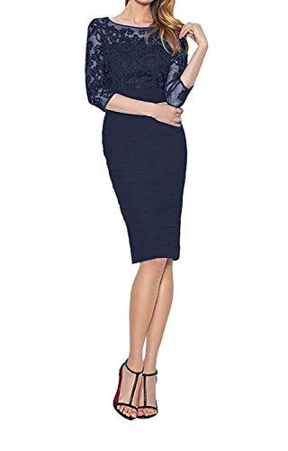 Charmant Royal Damen Partykleider Etuikleider Dunkel Abendkleider Blau mit Ballkleider Spitze Blau Langarm FFZnrq6