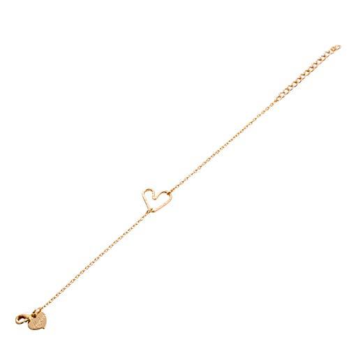 LOYATA Women's Charm Bracelet, 14K Gold Plated Bar Cute Elephant Dainty Humsa Hand Delicate Karma Circle Small Love Heart Mini Pearl Charm Bracelets for Girls (Heart)