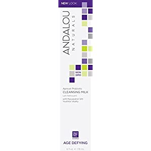 Andalou Naturals Apricot Probiotic Cleansing Milk, 6 oz., with Resveratrol CoQ10, Probiotics, Apricot, and Borage Oils, Gently Cleanses Makeup and Impurities for Clean, Fresh Feeling Skin