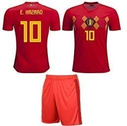 Major Sports Belgium Hazard #10 Soccer Jersey Kids Youth Sizes Football World Cup Premium Gift Set (YM 8-10 Years, Hazard #10) (Kids World Cup Soccer Jersey)