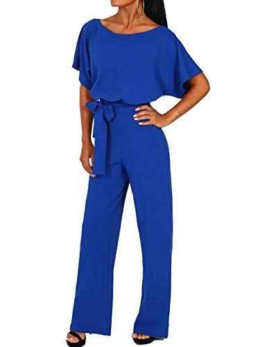 ALAIX Women's Elegant Short Sleeve Jumpsuit Loose Wide Leg Long Pants Rompers Overall with Waistband RoyalBlue-L