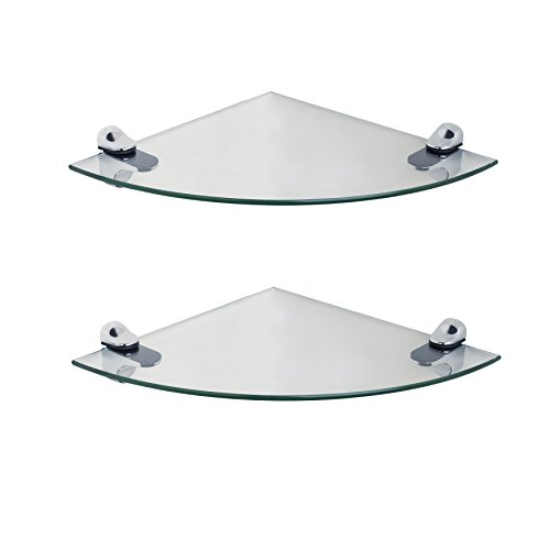 Set of 2 Clear Glass Radial Floating Shelves with Chrome Brackets