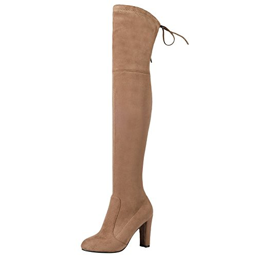 runde Shoes langschaft Camel Mee heels high Nubukleder Damen Stiefel HvqxIPAWw